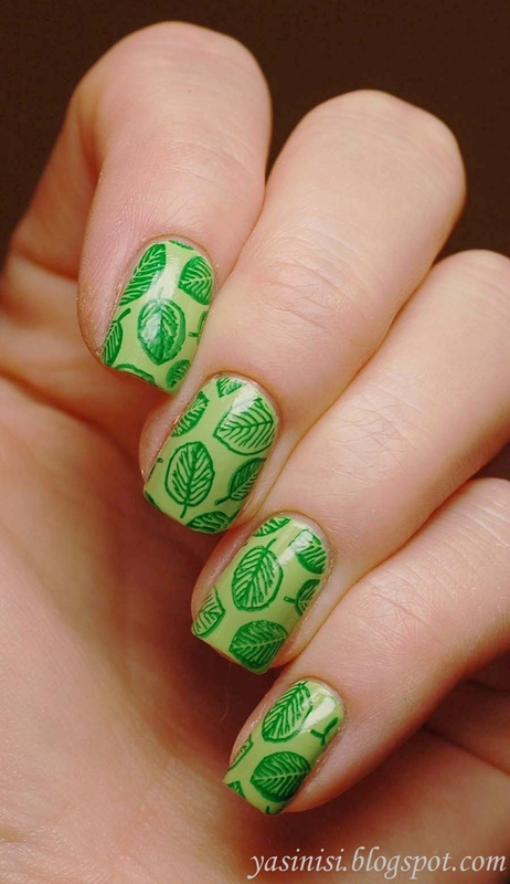 Leaves nail art by Yasinisi