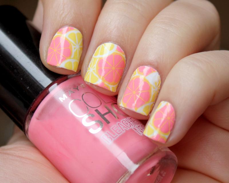 Pink Lemonade nail art by Moriesnailart