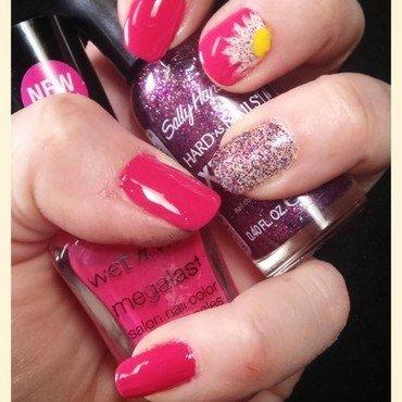 pink flower glitter nail art by Dani