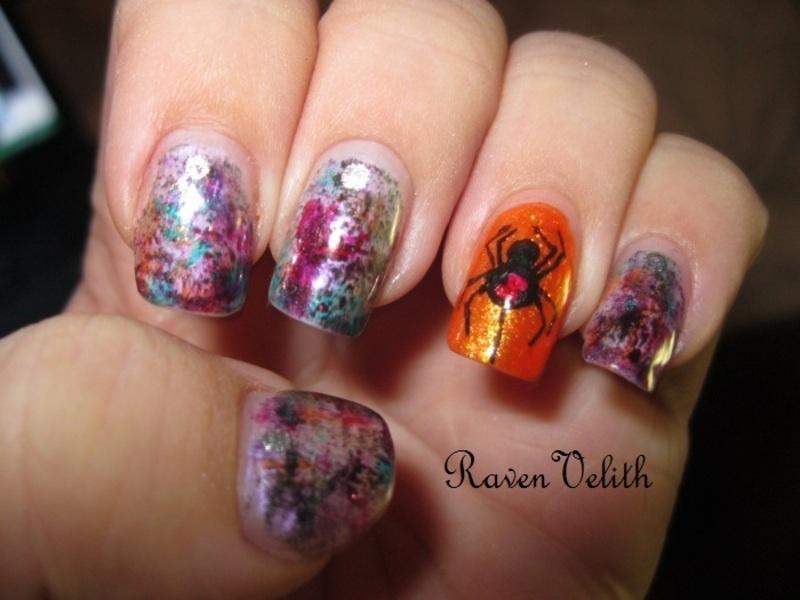 Drybrush Spider nail art by Lynni V.