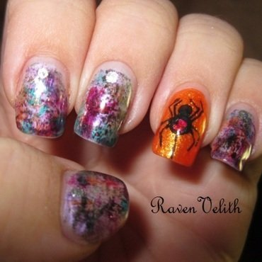 Drybrush Spider nail art by Lynni V.