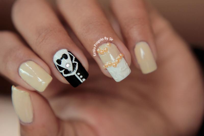 groom and bride nail art by Siça Ramos