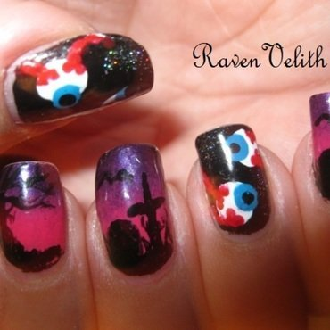 Eyeball Graveyard nail art by Lynni V.