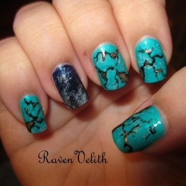 Turquoise and Lapis Lazuli nail art by Lynni V.