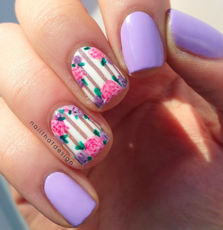 Spring Violet Floral Painting Nails nail art by Born Pretty