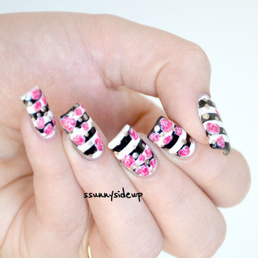 Black and white stripes with roses  nail art by ssunnysideup (Sabrina)