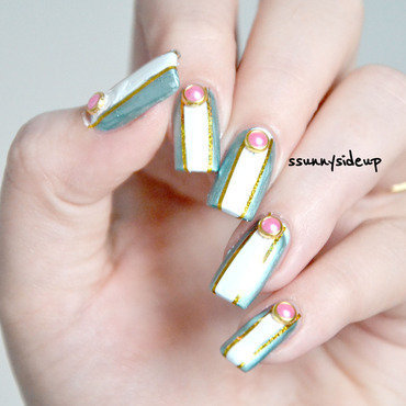 Nails with metal decoration by BPS nail art by ssunnysideup (Sabrina)