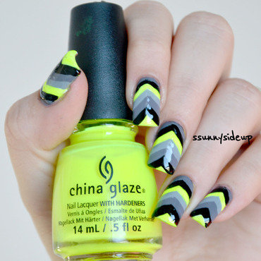 50 shades of grey chevron nails nail art by ssunnysideup (Sabrina)
