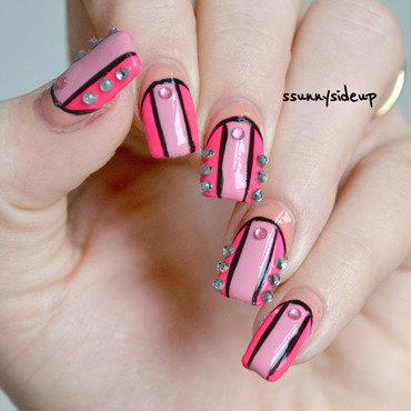 Victoria's secret colorblock bikini nails #1 nail art by ssunnysideup (Sabrina)