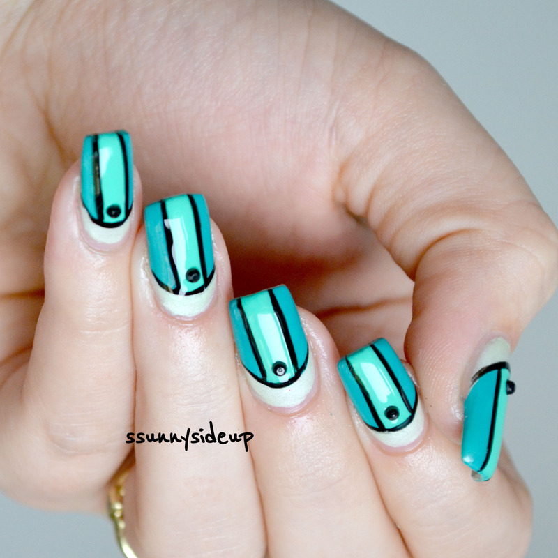 Victoria's secret colorblock bikini nails #2 nail art by ssunnysideup (Sabrina)