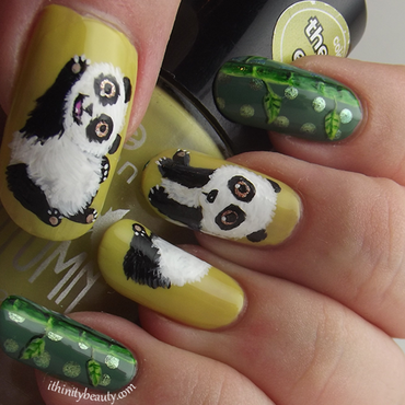 Pudgy Pesky Panda's With Bamboo nail art by Ithfifi Williams
