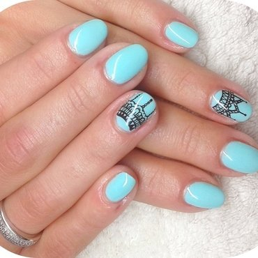 Blue Cutie nail art by Boglarka Tornai
