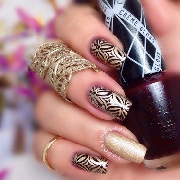 Burgundy and Gold Leaves nail art by Debbie
