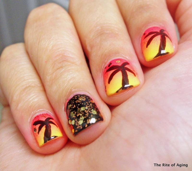 Neon Palm Tree Gradient nail art by Monica