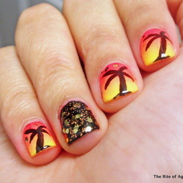 Neon Palm Tree Gradient nail art by Monica