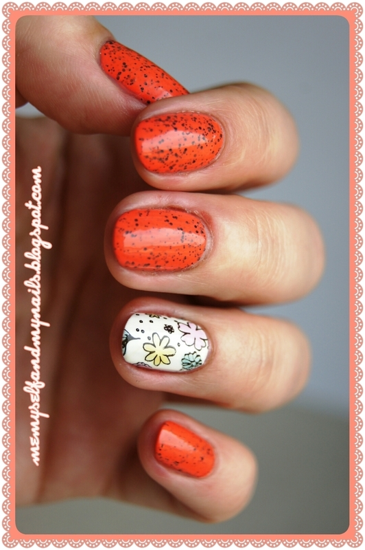 Tinted flowers and pepper nail art by ELIZA OK-W