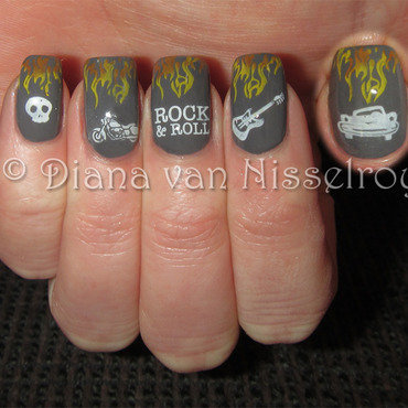 Rock 'n' Roll flames nail art by Diana van Nisselroy