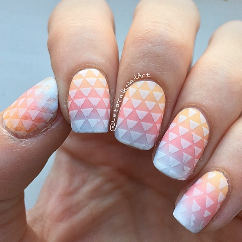 Gradient Geometric nail art by Lottie