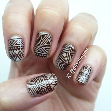 Tribal Nails  nail art by D4zzling Me