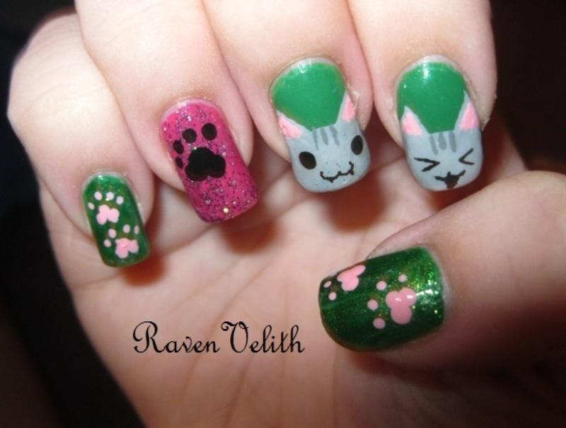 Kitties nail art by Lynni V.