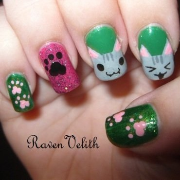 Kitties nail art by Lynni V.