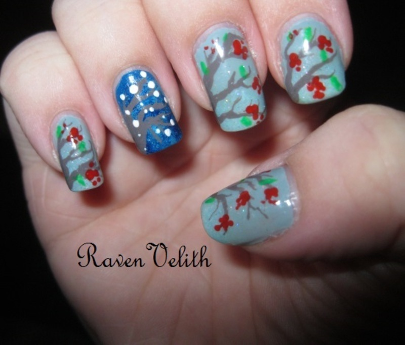 Winter Branches nail art by Lynni V.