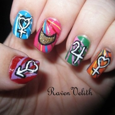 Sailor Moon Inner Senshi nail art by Lynni V.