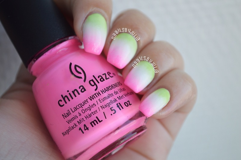 Summery gradient nail art by Julia