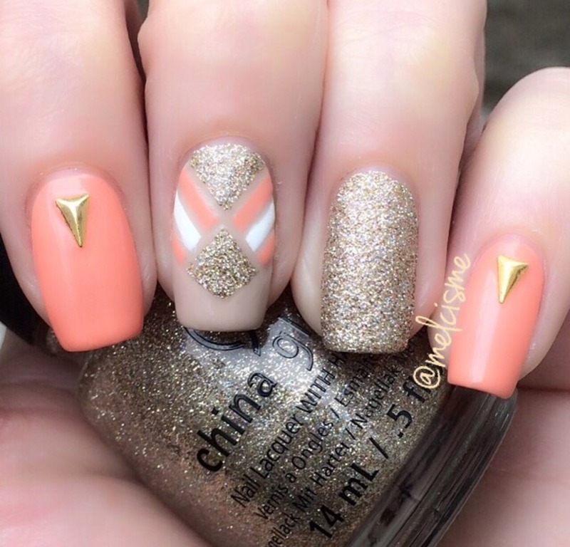 Nail Art With Gold Tape : Peach gold tape design nail art by melissa nailpolis