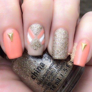 Peach / gold tape design  nail art by Melissa