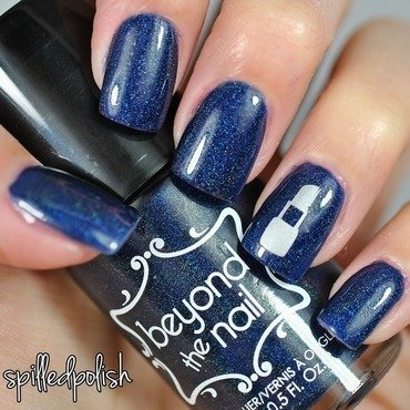 Navy Blue Holo nail art by Maddy S