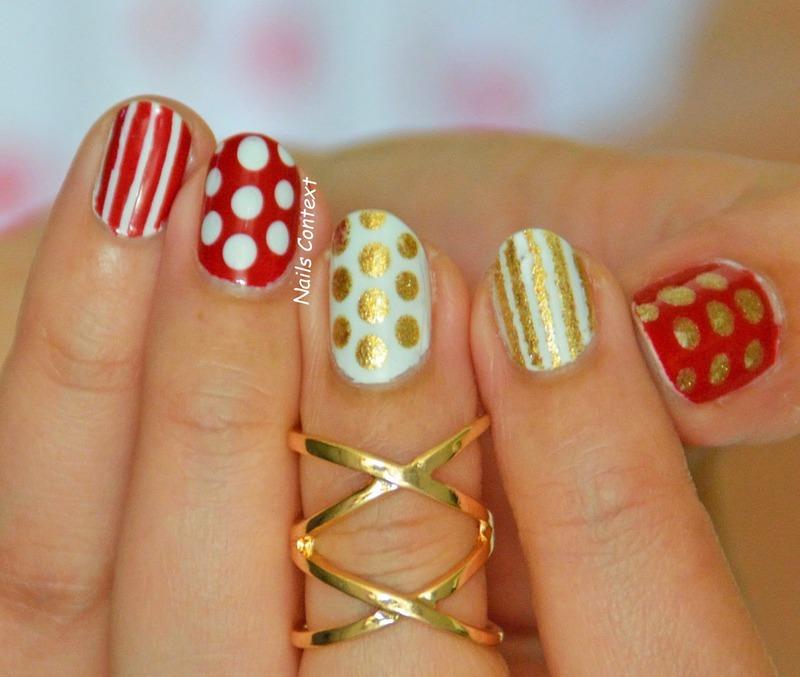 Red n Gold nail art by NailsContext