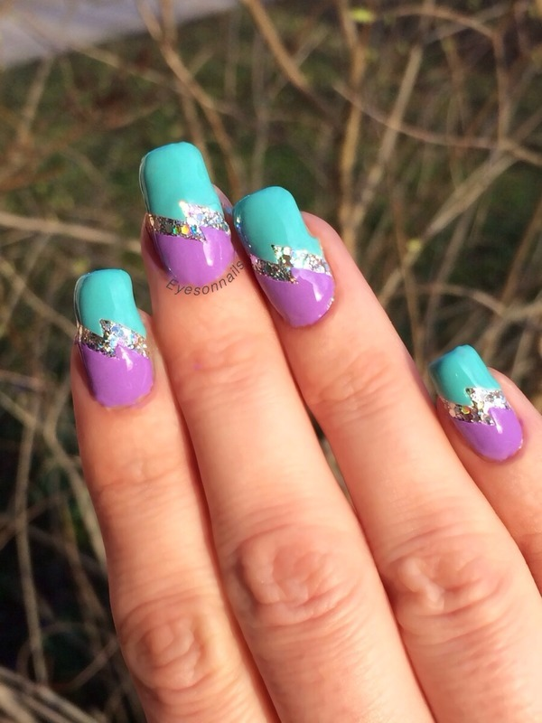 Purple & turquoise nail art by Virginia - Purple & Turquoise Nail Art By Virginia - Nailpolis: Museum Of Nail Art