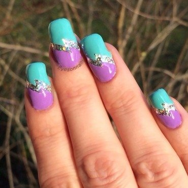 Purple & turquoise  nail art by Virginia