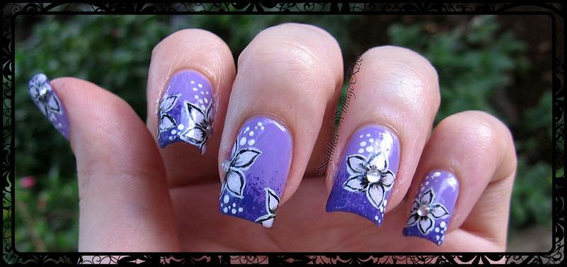 50 shades of violet nail art by Ninthea