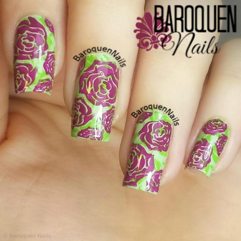 Spring Roses nail art by BaroquenNails