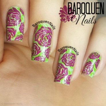 Spring Roses nail art by BaroquenNails