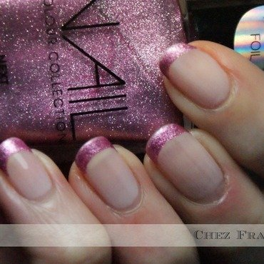 Dramatic French in Pink nail art by Francine