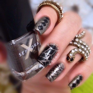 Gray Shimmer with Geometric Stamping nail art by Debbie