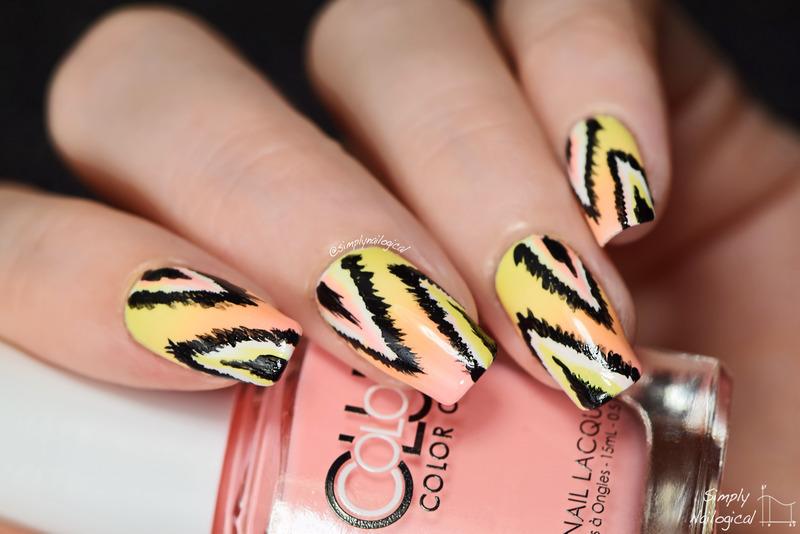 Pastel neon ikat nails nail art by simplynailogical