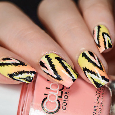 Pastel neon ikat nails nail art by simplynailogical