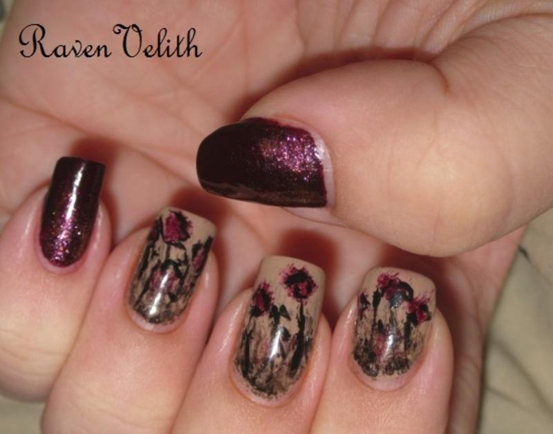 Gothic Flowers nail art by Lynni V.