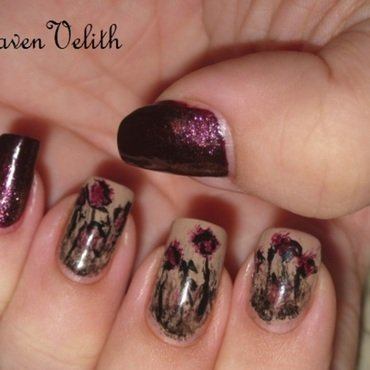 Gothic Flowers nail art by Lynni V.