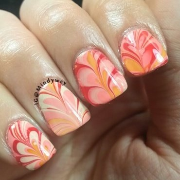 Heart watermarble for U  nail art by mindywong