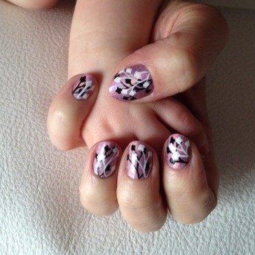 shadow flower nail art by Eleadora