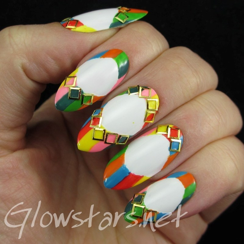 Inspired by Valentino 1973 Rockstud Printed Point-Toe Flats nail art by Vic 'Glowstars' Pires
