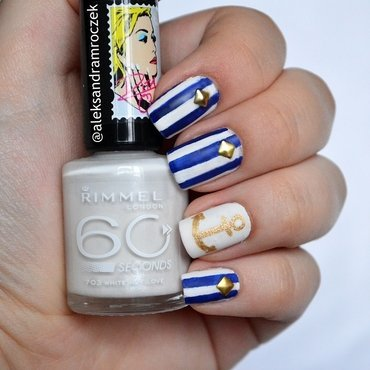 nautical chic  nail art by Aleksandra Mroczek