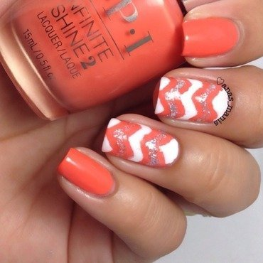 Chevrons nail art by anas_manis