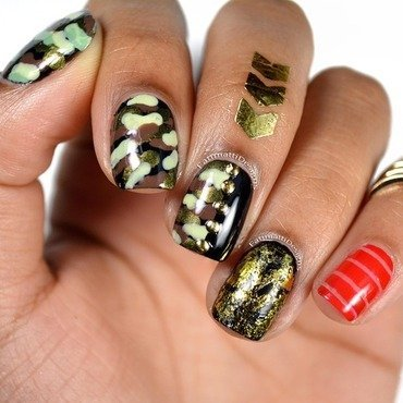 Camo, Gold Foil, and Red Straps nail art by Fatimah