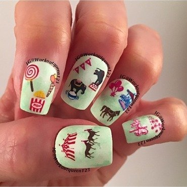 The Circus is coming nail art by Workoutqueen123